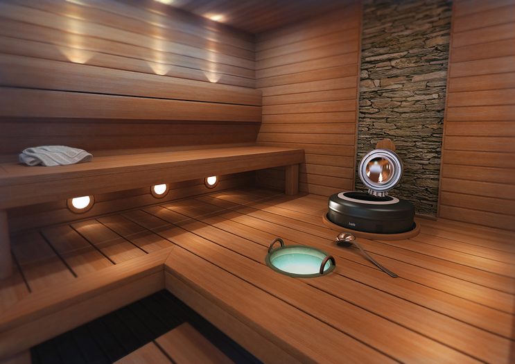 Superbe Interior Of A Sauna With Helo Heater And Steamroom Equipment