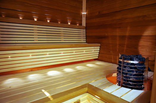 Interior of a Sauna with Timber Finish