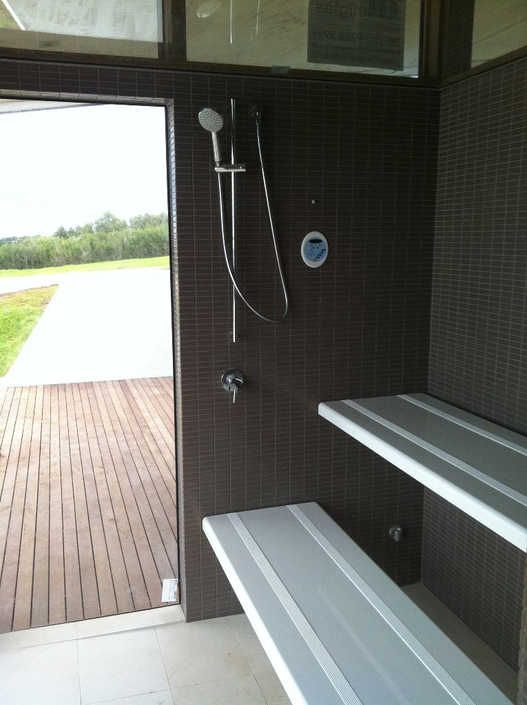 Steam Shower with Two Tiered Fibreglass Benches Built by SaunaHQ
