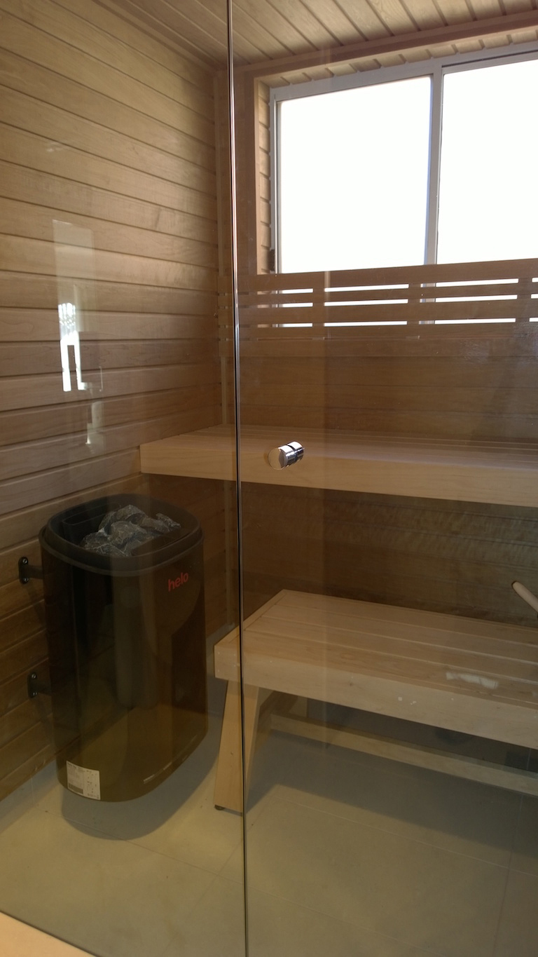 Western Cedar Sauna With Glass Front and Fonda Duo Heater