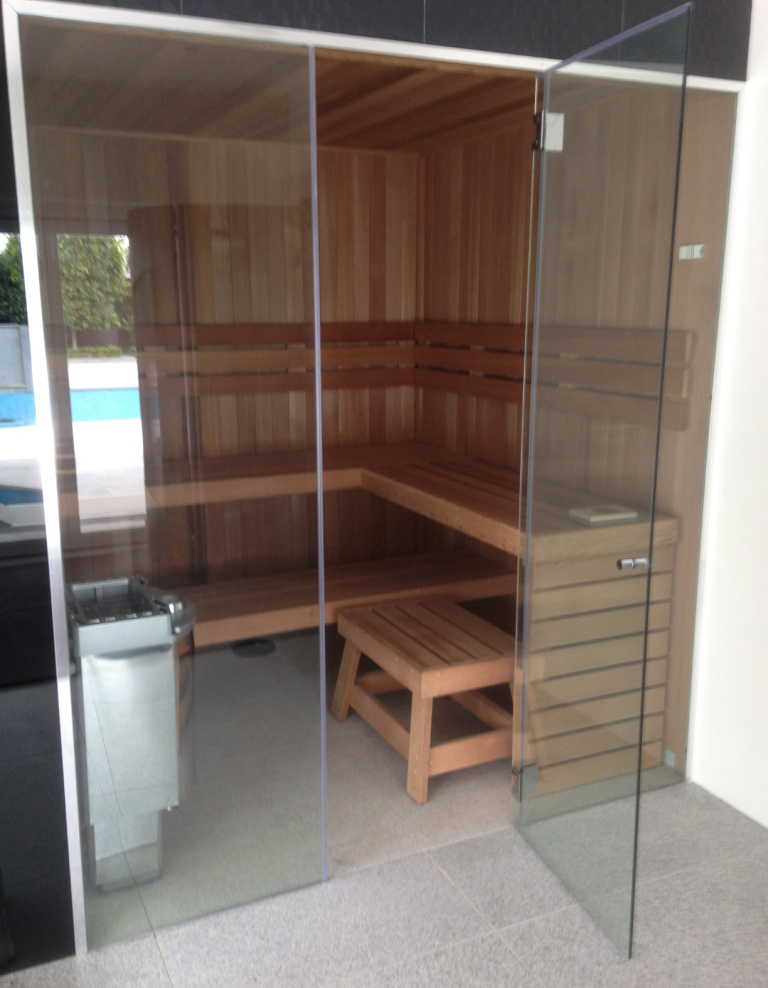 Western Cedar Sauna With Glass Front and Fusion Heater