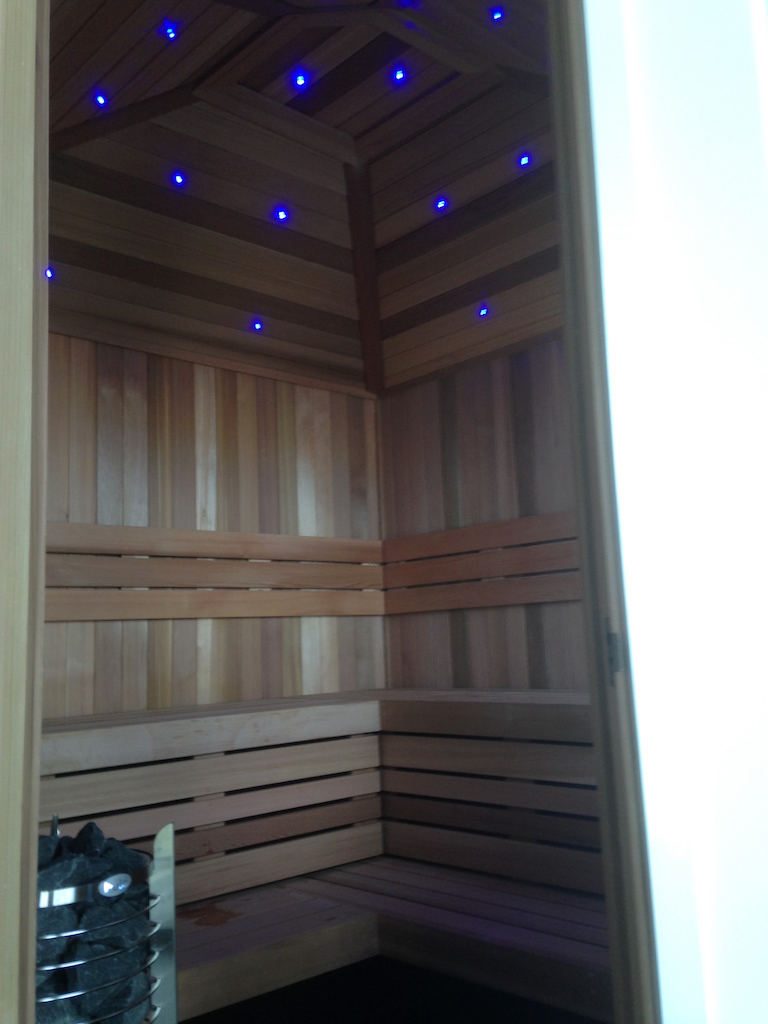 Western Cedar Sauna With Pyramid Ceiling LED Lights and Ring Heater